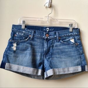 7 for all mankind cuffed denim shorts